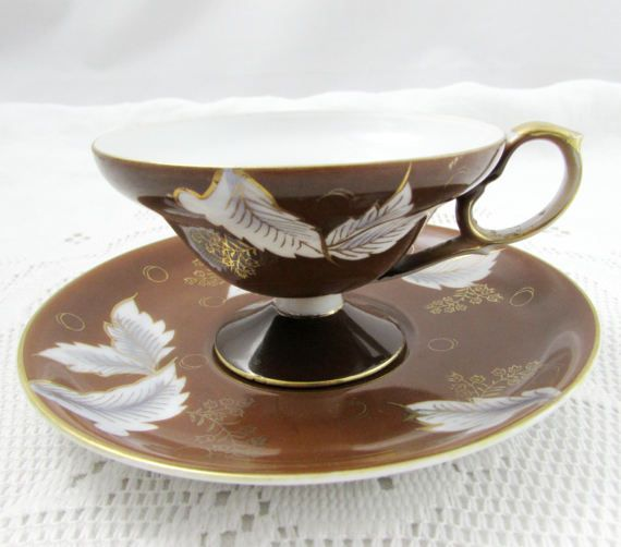 Vintage Brown Tea Cup and Saucer by Shafford, Made in Japan, Japanese Tea Cup