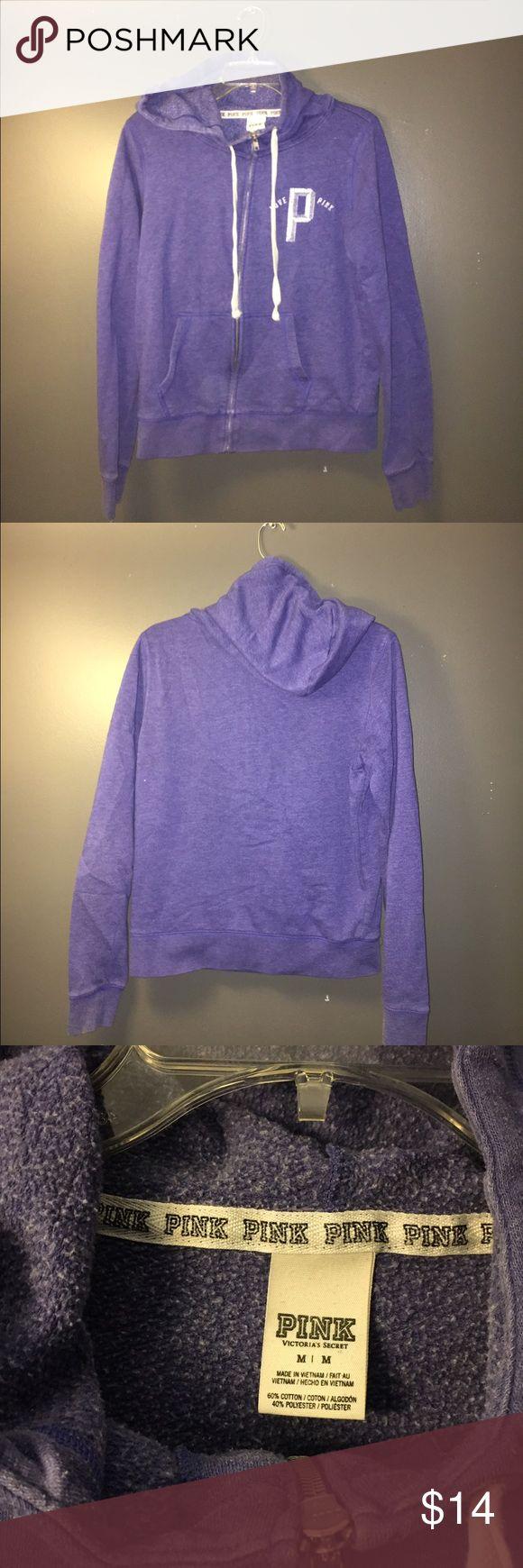 PINK purple zip up sweatshirt Very loved, but too big for me! Super cute and has no signs of wear PINK Victoria's Secret Tops Sweatshirts & Hoodies