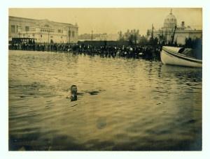 """George Zahanus of Germany winning of the Quarter Mile Breast Stroke Olympic Championships."" (1904 Olympics)."