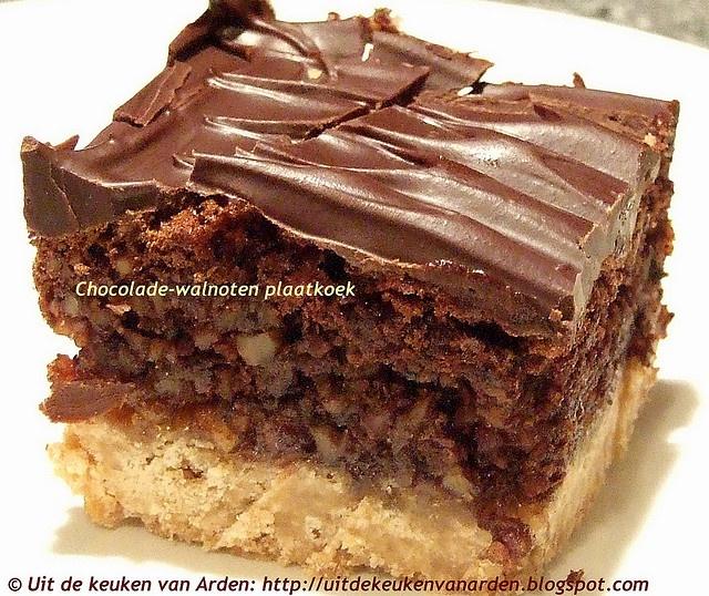 Chocolade-walnoten plaatkoek