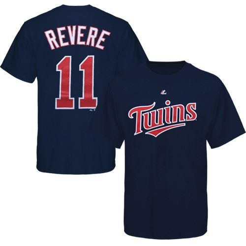 MLB Majestic Ben Revere Minnesota Twins Player T-Shirt - Navy Blue by Majestic. $26.95. Majestic Ben Revere Minnesota Twins Player T-Shirt - Navy BlueScreen print graphicsLightweight ribbed T-shirtTagless collar100% CottonImportedOfficially licensed Twins T-shirt100% CottonLightweight ribbed T-shirtScreen print graphicsTagless collarImportedOfficially licensed Twins T-shirt