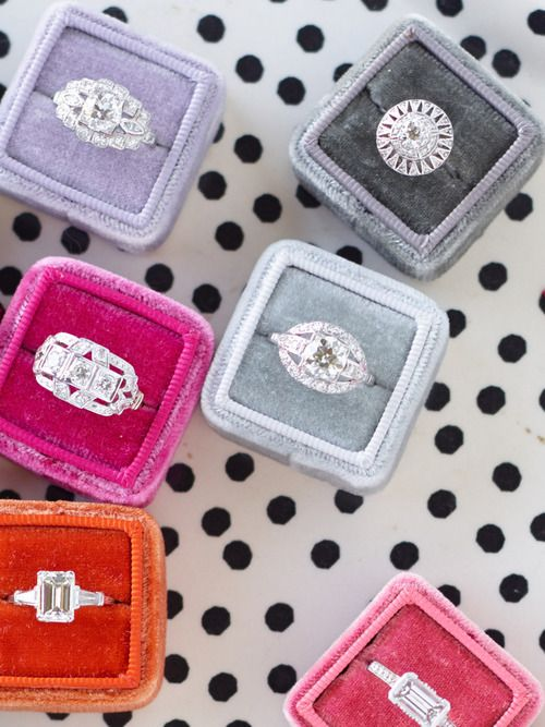 The Mrs. Box - love these ring boxes, perfect for wedding photos - come in a variety of colors with a gold foil monogram