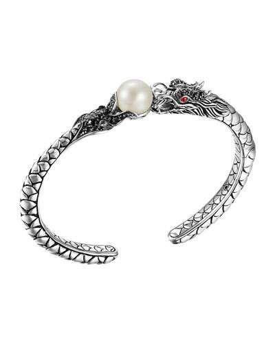 John Hardy Naga Silver Lava Small Cuff with Pearl & Black Sapphire