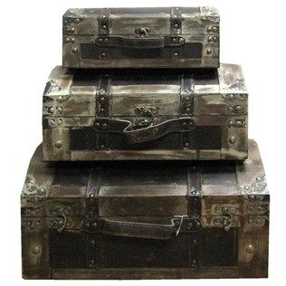 """This set of Distressed Leather Dome Trunks is perfect for holding craft supplies, books, CDs and DVDs and other items. Will look great in any living room, foyer, home library or family room.    The trunks measure, from smallest to largest:      12"""" wide x 7 3/4"""" deep x 4 3/4"""" tall    15"""" wide x 10 1/2"""" deep x 6 1/4"""" tall    17 1/2"""" x 13"""" deep x 8"""" tall      Note: This product is sold as a set only; we are not able to break up the ..."""
