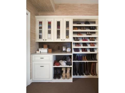 love the built in shoe racks with one just for tall boots upper and lower cabinets in a closet. Black Bedroom Furniture Sets. Home Design Ideas