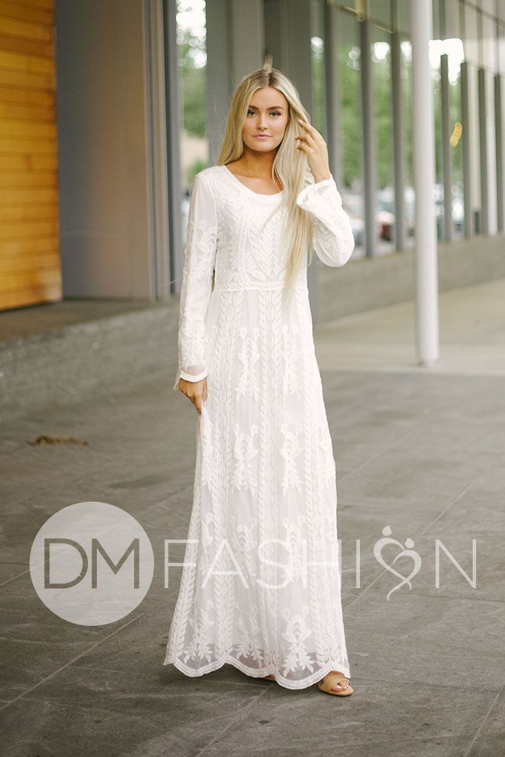 230355dba SAMANTHA - White Lace Embroidered Maxi Dress, white lace dress, lace  embroidered gown, scalloped sleeves, fully lined dress, white dress, modest  dress, ...