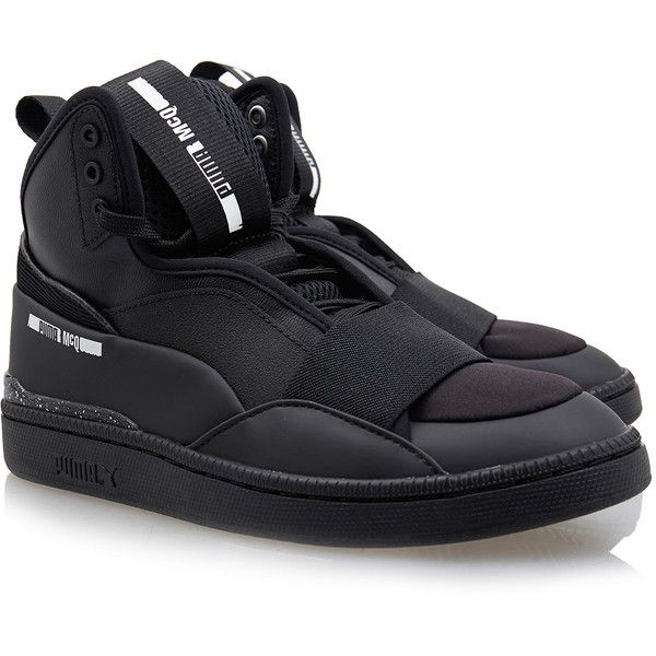 Puma X McQ Brace Mid Black High Top Sneaker (6.680 RUB) ❤ liked on Polyvore featuring shoes, sneakers, black, puma sneakers, lace up sneakers, black hi tops, puma shoes and lace up shoes