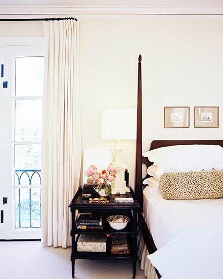 The Best Style Lessons 12 Top Designers Learned From Mom // Mother's Day, Betsy Burnham, Burnham Design, traditional bedroom by @Betsy Burnham: Idea, Posters Beds, Leopards, Master Bedrooms, Bedside Tables, Night Stands, Bolster Pillow, Neutral Bedrooms, Pillows