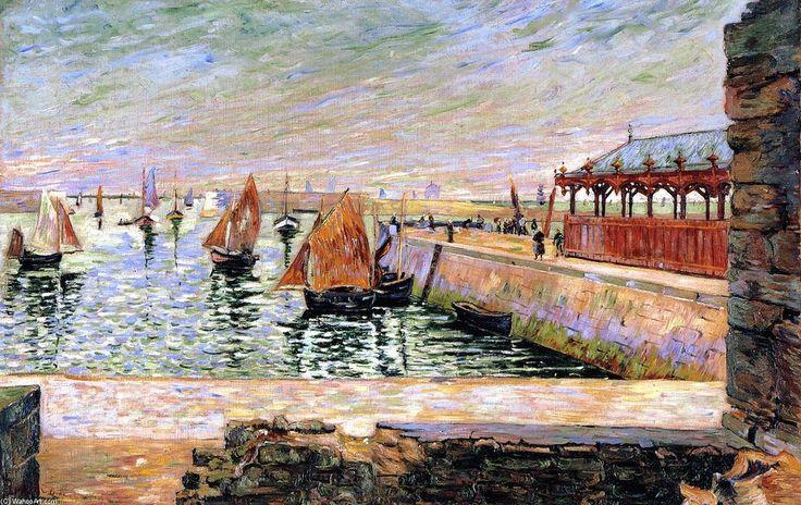 The Fish Market, Port-en-Bessin, Oil On Canvas by Paul Signac (1863-1935, France)
