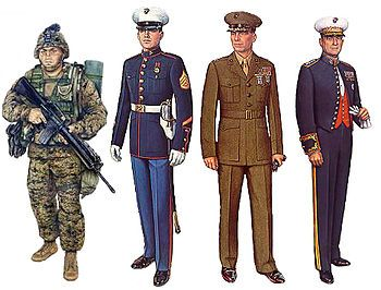 left to right: Utility Uniform, Blue Dress Uniform, Service Uniform, and Evening Dress uniforms