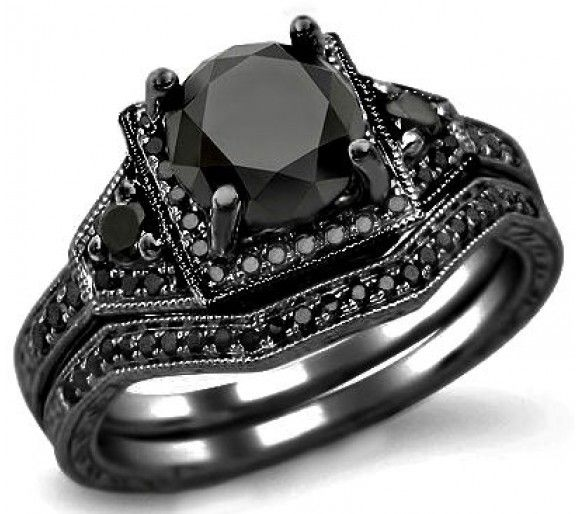 2.05ct Black Round Diamond Engagement Ring Bridal Set 14k ...