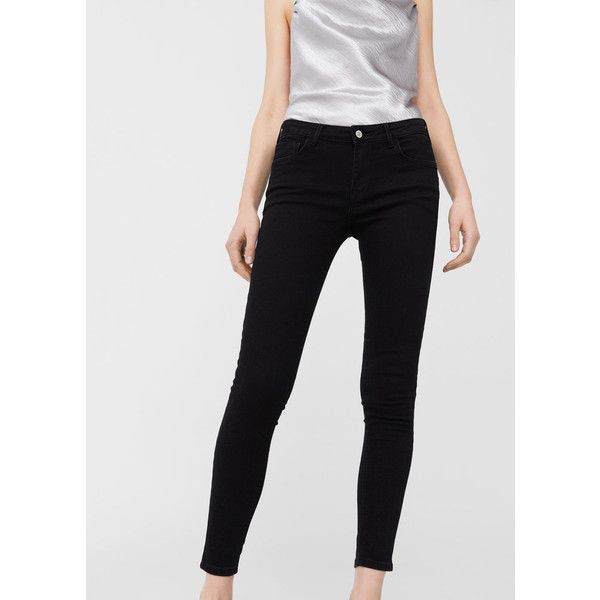 MANGO Kim skinny push-up jeans (€44) ❤ liked on Polyvore featuring jeans, black denim, mid rise skinny jeans, mid-rise jeans, zipper denim jeans, super skinny jeans and zipper fly jeans