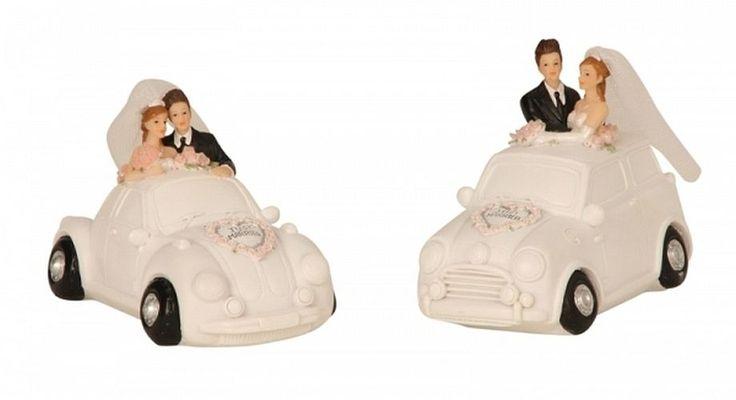 Hochzeitspaar im Auto Brautpaar Hochzeit Tortenfigur Deko Figur Spardose Heirat