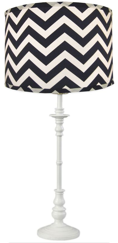 A navy blue and white chevron lamp shade makes a bold statement in any room!