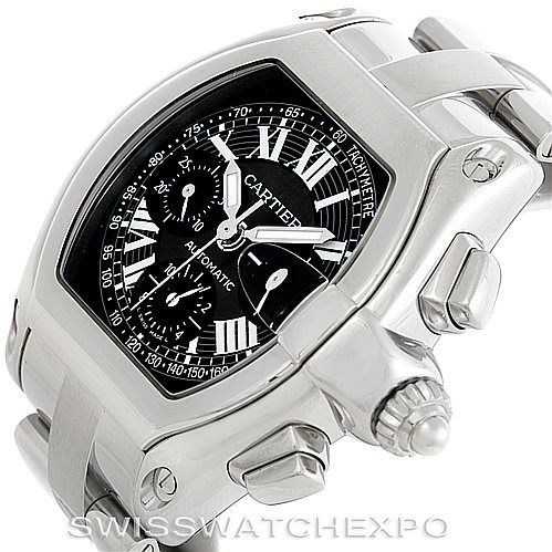 The Cartier Roadster watch with its distinct look and shape allows for the bracelet and strap to be switched in a matter of seconds without the use of any tools.  Cartier Roadster Chronograph Mens Watch W62020X6