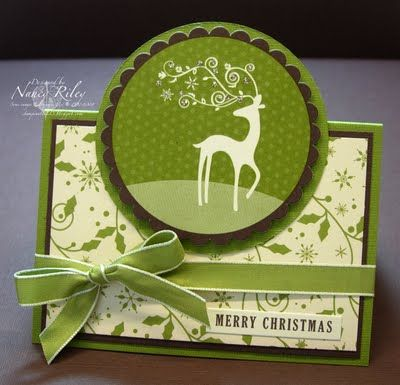 A lovely green and brown Christmas card by Nancy Riley, iSTAMP. #Christmas #cards #paper_crafting