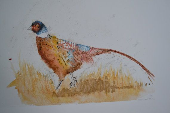 Pheasant in an Autumn Landscape by sarahNetLtd on Etsy
