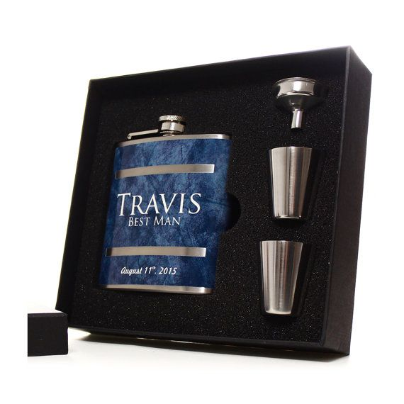 Our flask gift sets for groomsmen, best men and ushers make great personalized gifts for your wedding party.  Our groomsmen flasks are handcrafted using quality stainless steel hinged flasks. We wrap our flasks with a 6.2mil thick vinyl / polymer laminate that produces a quality product that can be used and enjoyed for years.  Names (The 1st names only look best on this design. You can however, leave the titles off and we can print the surnames in the place of the titles which looks great…