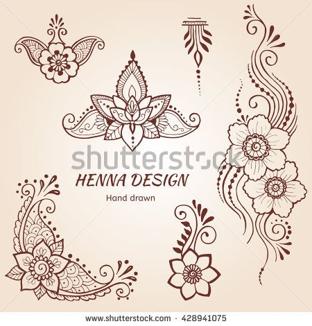 Hand drawn set of henna tattoo, floral paisley, mehndi flower elements based on traditional indian style.