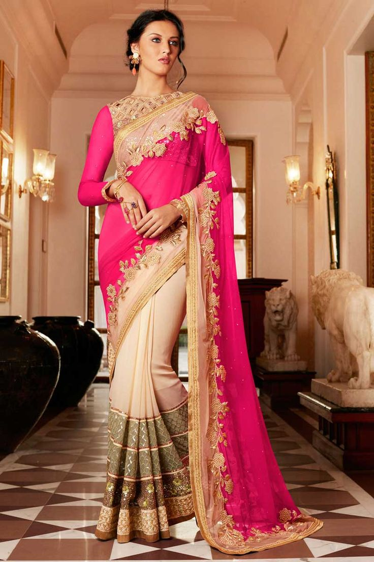 #Crème et rose #Georgette #Saree Avec Chemisier en soie  http://www.andaazfashion.fr/womens/sarees/cream-and-pink-georgette-saree-with-silk-blouse-dmv8439-23830.html