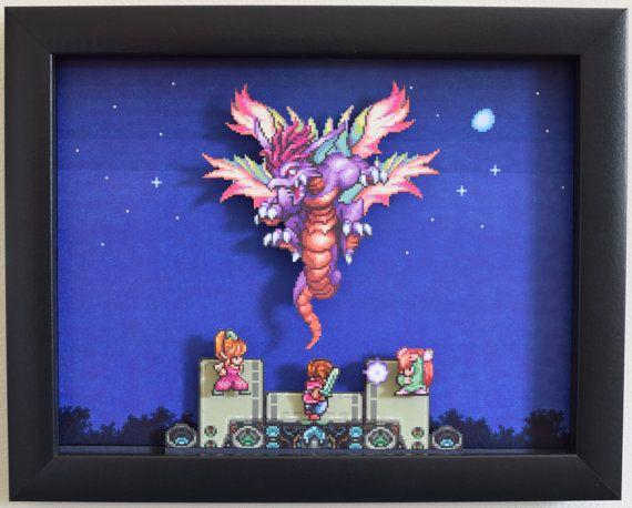 Handmade Video Game Shadowbox (Secret of Mana)