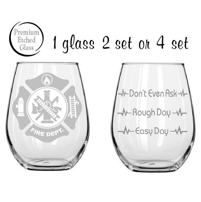 firefighter glass,Good day Bad day glass,Etched wine glasses,firefighter gift,birthday gifts,etched glasses,funny glasses,Etched gifts by MileStoneArtworks on Etsy