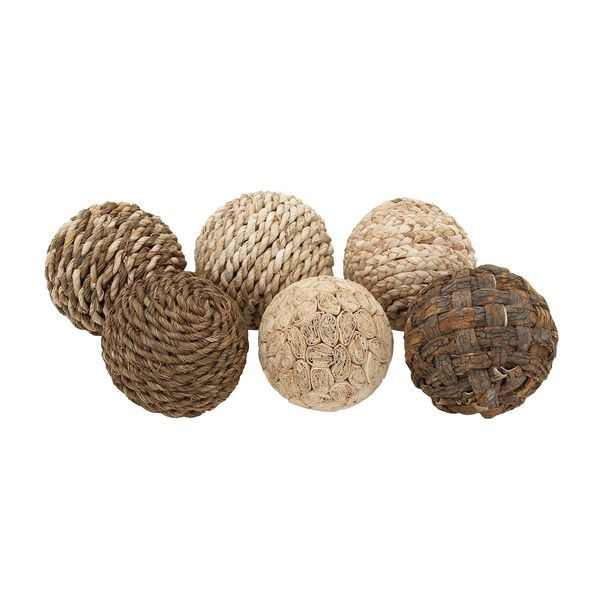 Decorative Rope Balls Natural Patterned 6Piece Decorative Ball Setbenzara  Piece