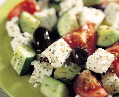 Greek Salad with Tre Stelle® Crumbled Feta Cheese #salad #feta #recipe #sidedish