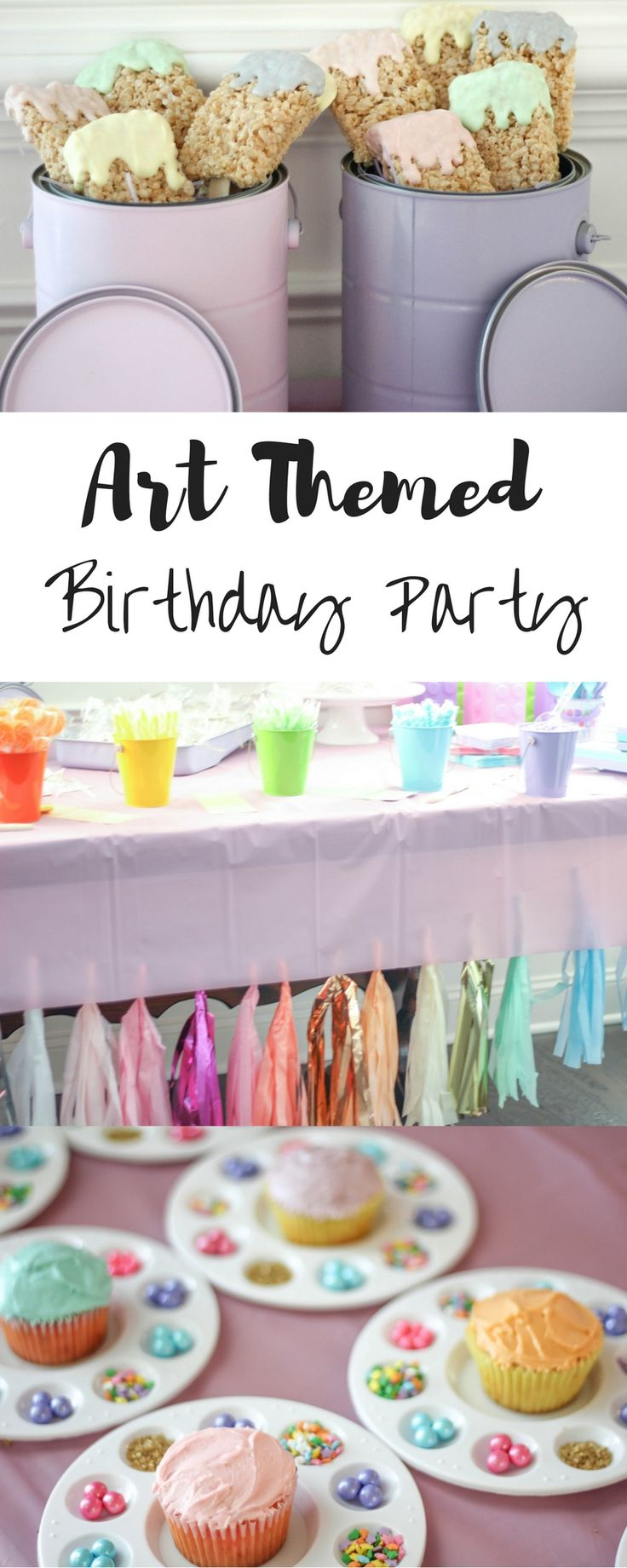 All the Art Decor Ideas and shops linked for you to easily create an Art themed birthday for your child. Art themed Birthday Party | Art Party | Pastel Party | Pastel Birthday | First Birthday | Second Birthday | Little Girl party | Colorful Birthday Party | Paint Buckets | Cupcakes | Paint Party | Busy Little Izzy