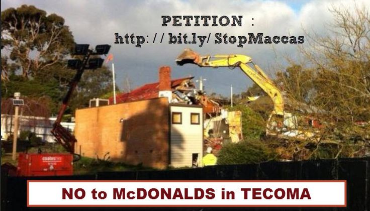 The township of Tecoma looks at this - and is GUTTED. How would your town fare against McDonalds ? Help fight this abuse of community values. Petition them !  https://www.change.org/en-AU/petitions/mcdonald-s-abandon-plans-to-build-a-massive-24-7-store-opposite-the-kindergarten-in-tecoma#intro