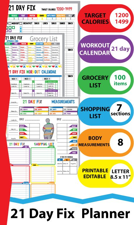 21 day Fitness 1200 Calories Tracker, Shopping List ...