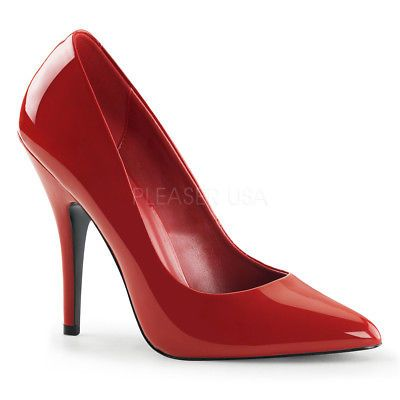 Pleaser SEDUCE-420 Women's Single Soles Red Patent Pump High Heels Shoes