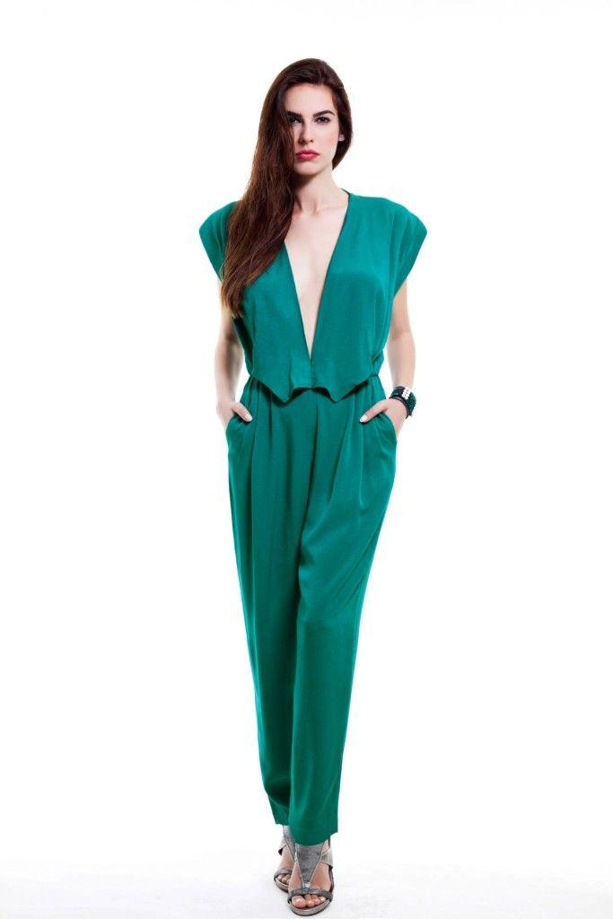 SARTORIAL   Chryssomally    Art & Fashion Designer - Emerald 70's inspired jumpsuit