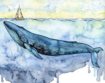Watercolor Orca and Girl Painting Print от TheColorfulCatStudio