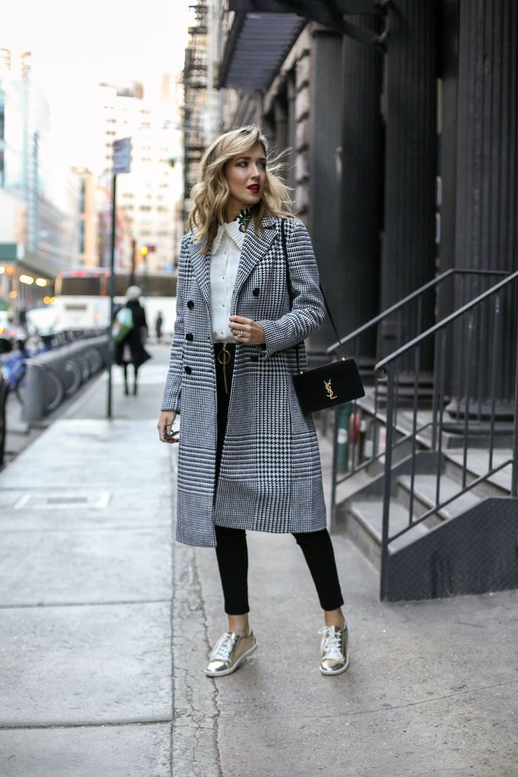 nyc-street-style-casual-friday-metallic-gold-sneakers-glen-plaid-coat-embroidered-collar-shirt-storets1