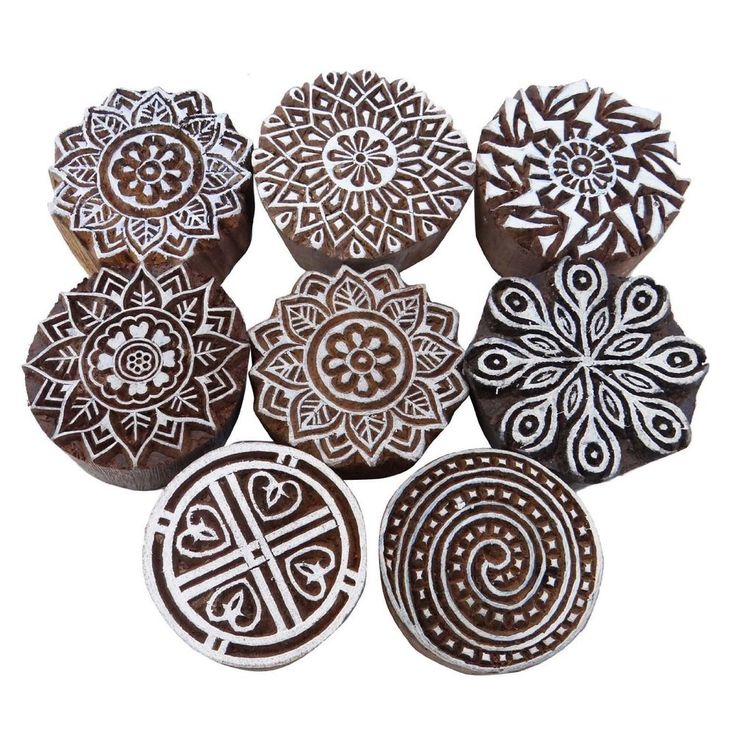 Lot Of 8 Pcs Indian Wooden Textile Stamps Hand Carved Printing Block Brown Stamp…