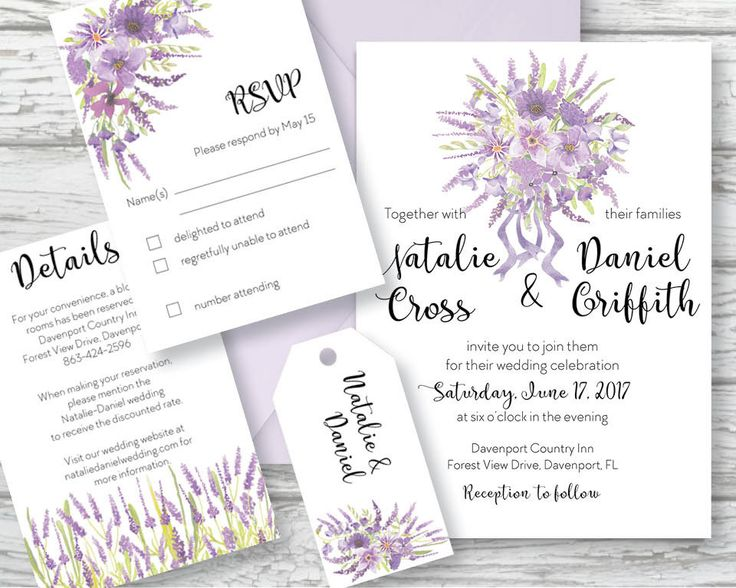 Wedding invitation set; hand painted watercolor Lavender; DIY print; includes custom text; printable wedding stationery by LollysLaneShoppe on Etsy