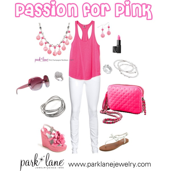 Passion for Pink, created by parklanejewelry on Polyvore  Park Lane Jewelry featured: Pink Champagne necklace & earrings, Destiny ring, Volume bracelet, Bliss ring & bracelet