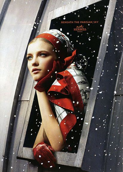 Vlada Roslyakova photographed for Hermes ('Beneath the Parisian Sky') by Camilla Akrans. Advertising campaign fall/winter 2006/07.