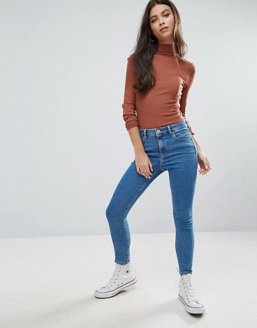86433d78 Image result for ASOS PETITE RIDLEY High Waist Skinny Jeans in Lily Wash
