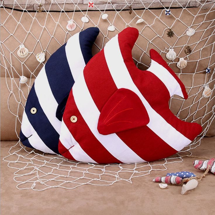 домой подушку Picture - More Detailed Picture about Hot Mediterranean Style Red Bule Striped Fish Pillow Cushion Creative Home Pillow Back Cushion Picture in Cushion from Good Pet | Aliexpress.com | Alibaba Group