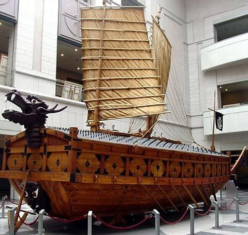Pictured is a 1:2.5 scale reproduction of a Korean Turtle Ship. This is regarded the most historically accurate reproduction of such a vessel. Admiral Yi Sun-sin completed his first turtle ship and launched it on March 27, 1592.  They were equipped with at least five different types of cannon. Their most distinguishable feature was a dragon-shaped head at the bow that could launch cannon fire or flames from the mouth. The deck was covered with iron spikes to discourage the enemy from…