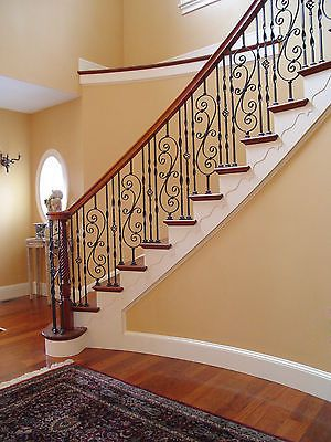 Picture 3 Of 9 Wrought Iron Stair Spindles, Iron Balusters, Stairs  Balusters, Wood
