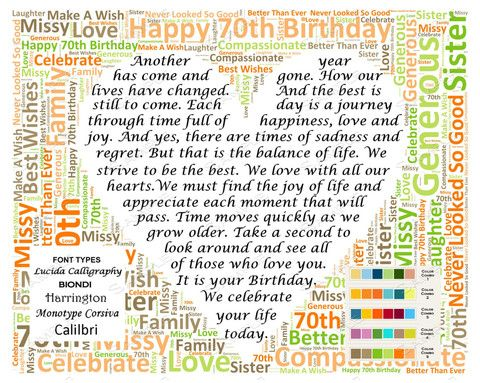 Personalized 70th Birthday Gift Poem Unique Gifts Word Cloud Art 8 X 10 Print
