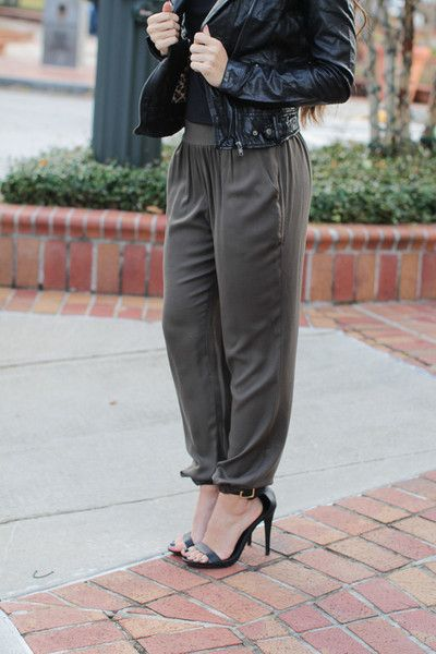 Dress up these loose olive green harem pants with a pair of heels and one of our leather jackets! New York Minute Olive Pants