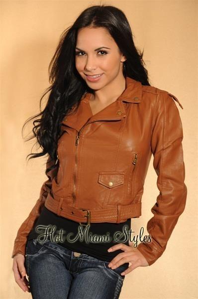 Куртка женская коричневая кожа