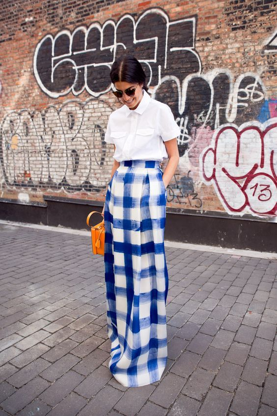 The Fashion Magpie // Gingham Maxi Skirt Street Style.