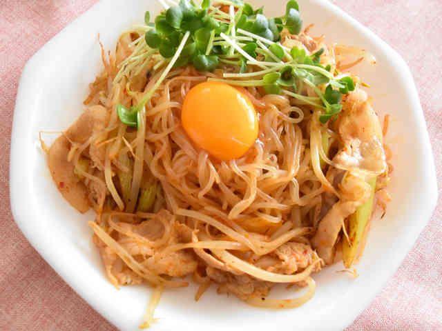ダイエット★しらたきで作るキムチ焼きそばの画像