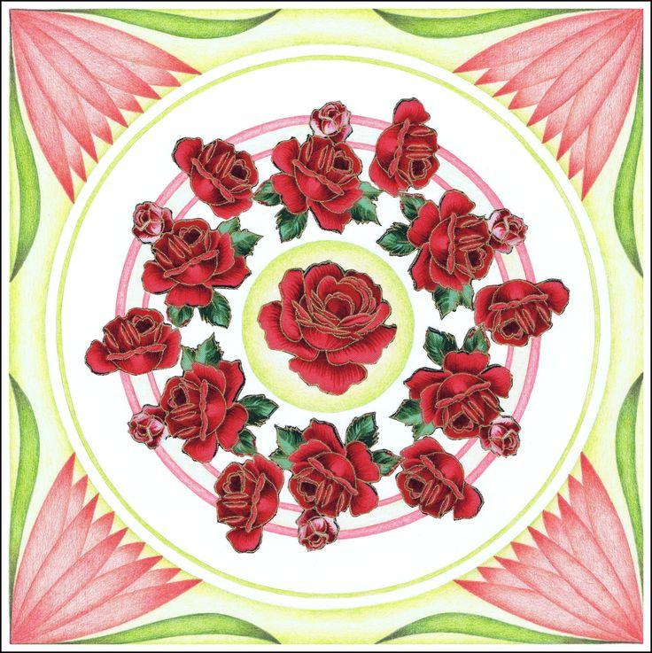 © Rode rozen 30x30cm op 250grams papier met stofjes en kleurpotlood