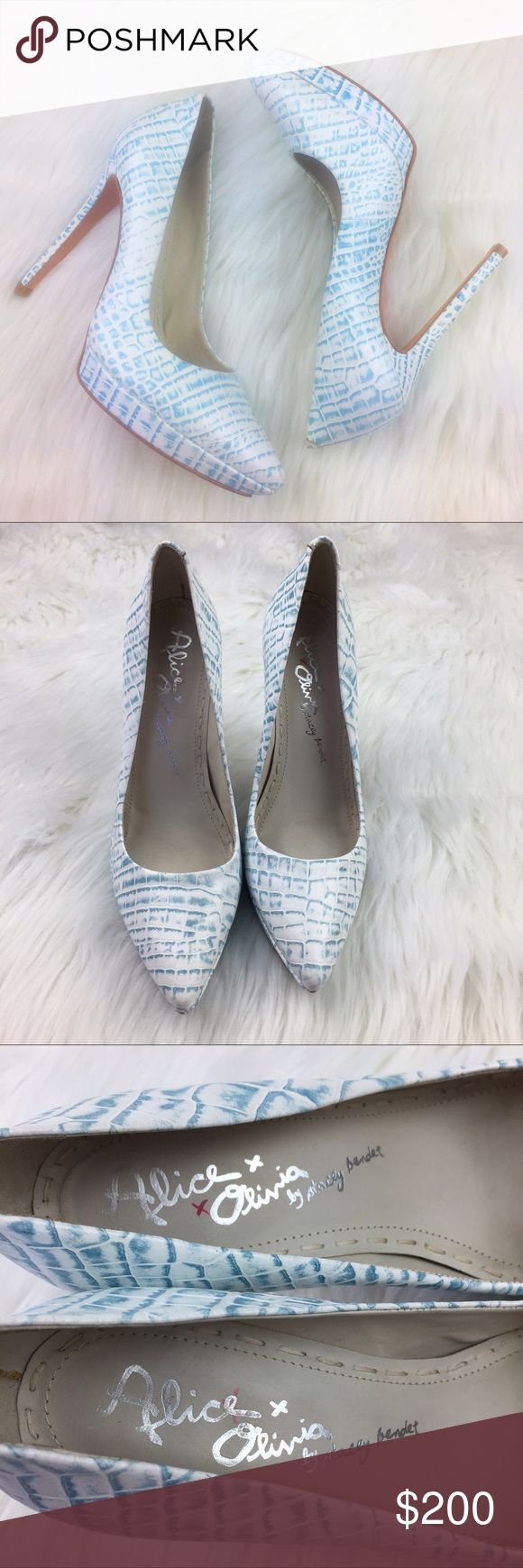 "Alice + Olivia Dina Snakeskin Blue White Pumps •Alice + Olivia Stacey Bendet Blue White Snakeskin Crocodile Alligator Patterned Dina Pumps •Women's Size 38 •In excellent used condition with light signs of wear on bottom and inner sole - worn once •Retail $295 •Heel height is approximately 4.5"" Alice + Olivia Shoes Heels"